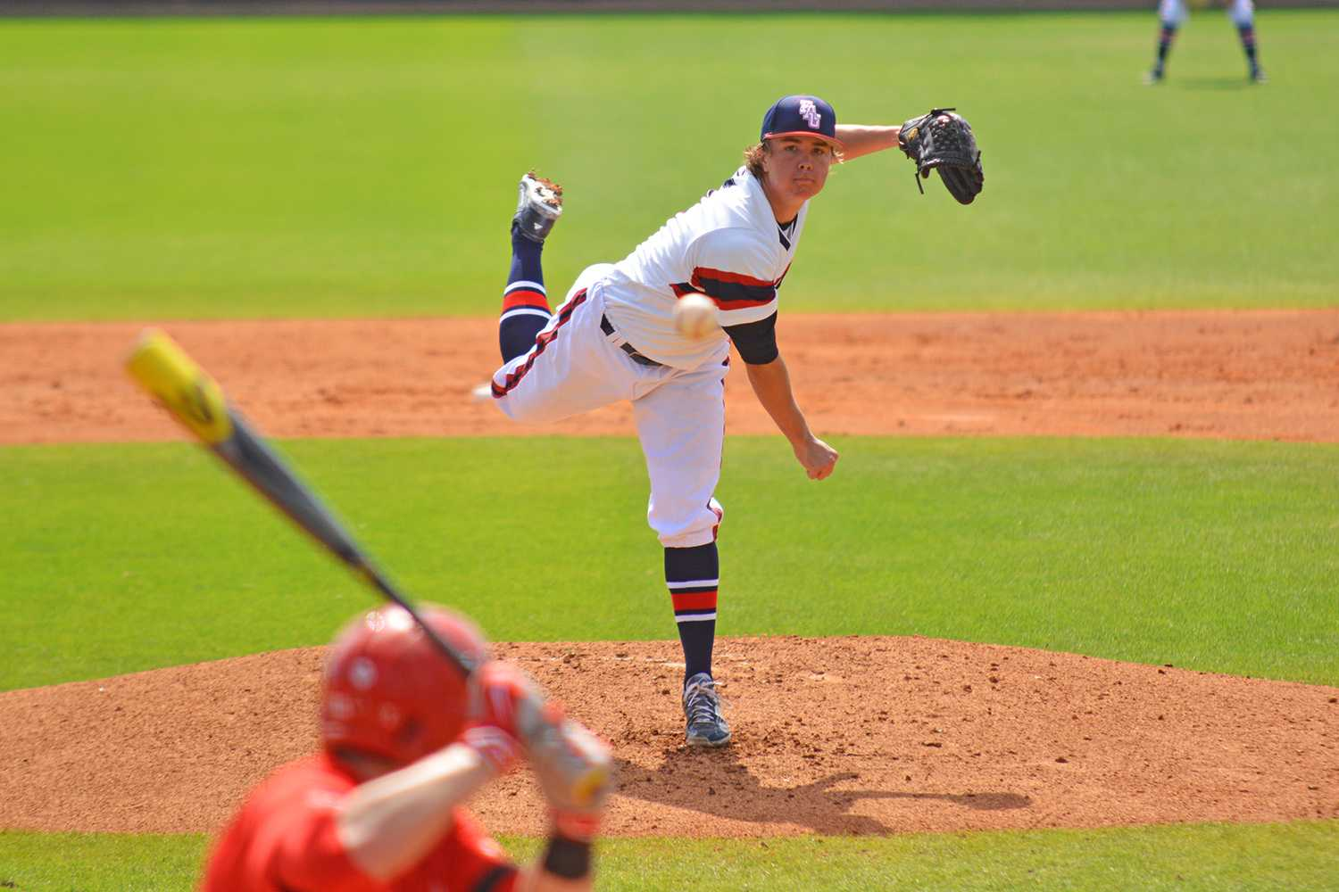 Sunday's starting pitcher Robbie Coursel (44) threw a no-hitter until the 5th inning to set the Owls up for their 2-1 victory.