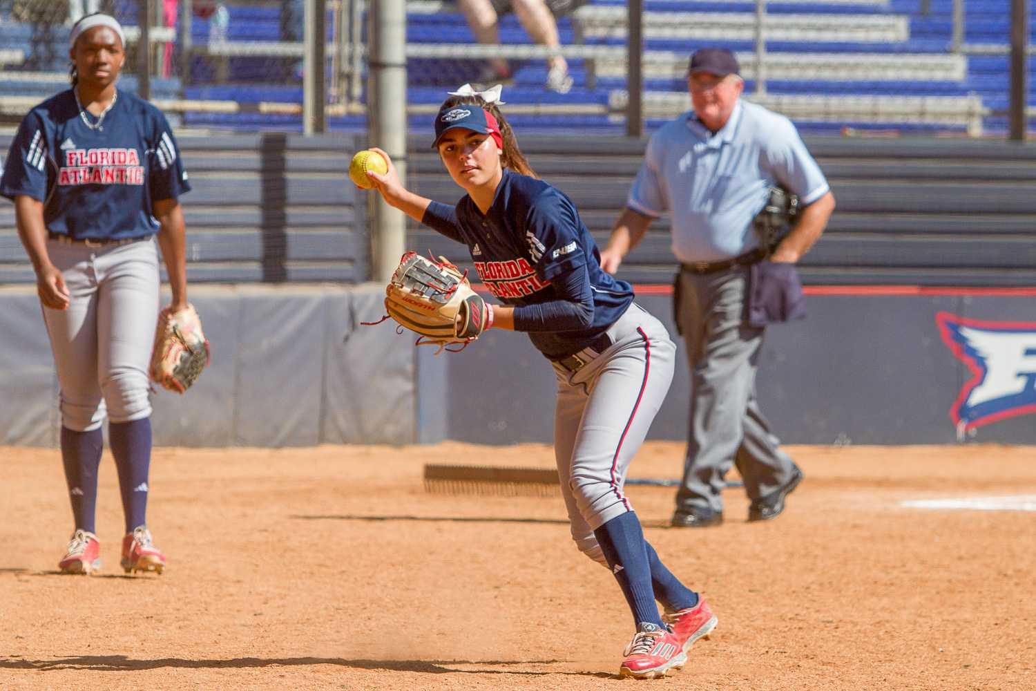 Junior infielder Melissa Martinez fields a ground ball during warm-ups before FAU's game against the University of Maryland. Martinez went 1 for 3 with a run scored.