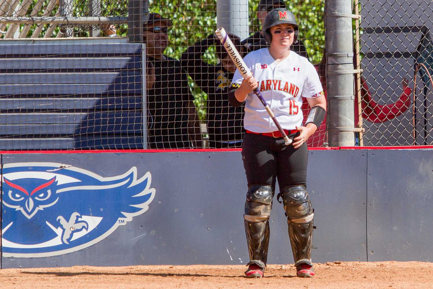 Senior catcher Shannon Bustillos waits in the on-deck circle for her turn to bat. Bustillos had one of the Terrapins' seven hits on the day.