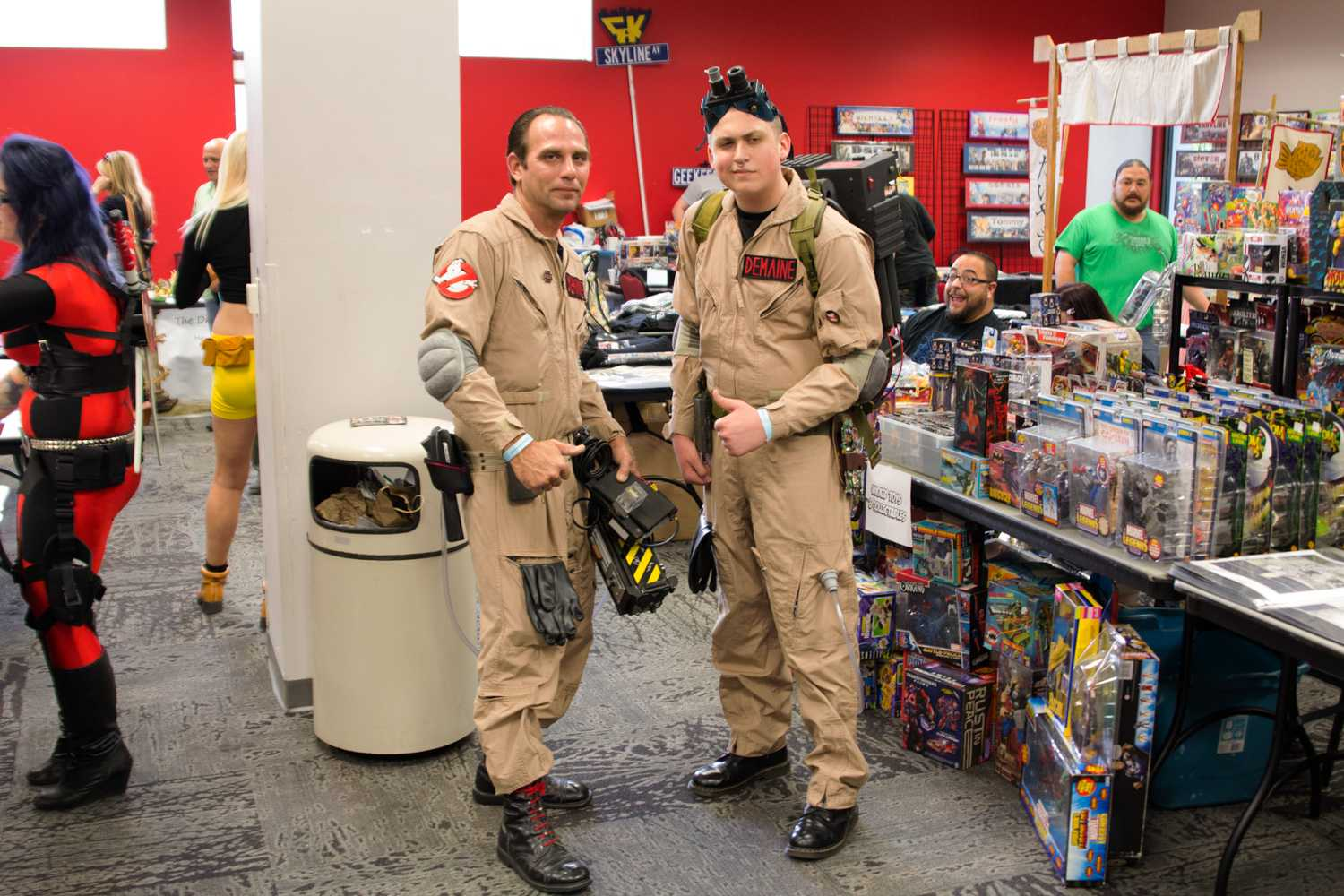 Mike DeMaine (left) and Vincent DeMaine (right) dressed as proton-pack slinging Ghostbusters from the movie Ghostbusters at Geekfest.
