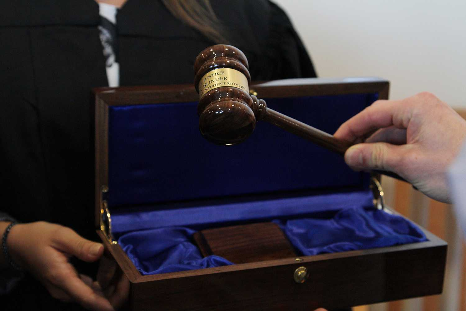This gavel is inscribed with Jason Blender's name and previous position and will be used by the current chief justice. Sabrina Martinez | Creative Director