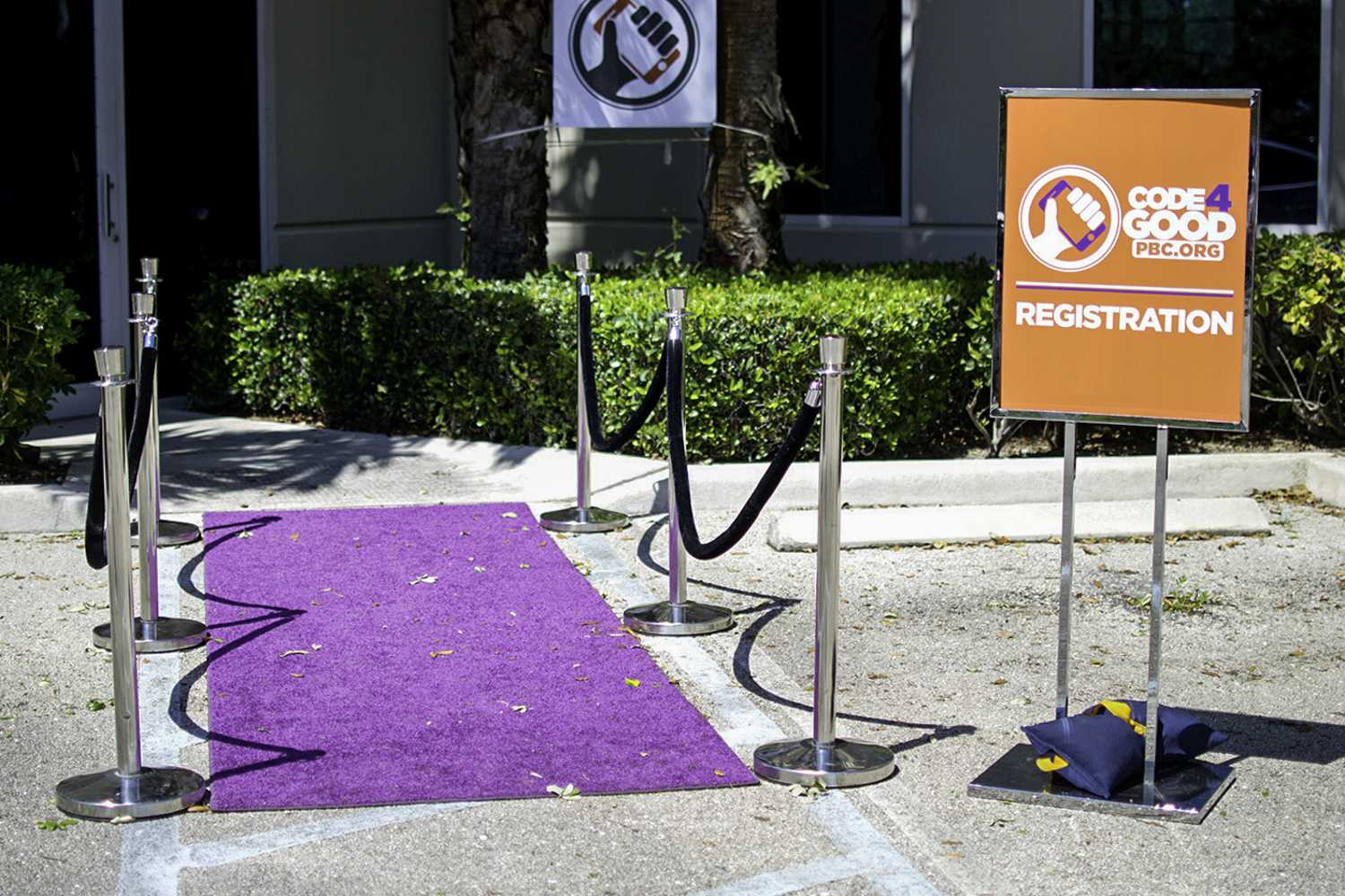 The purple carpet was rolled out for Palm Beach County's first hackathon. Photo by Alexis Hayward | Web Assistant