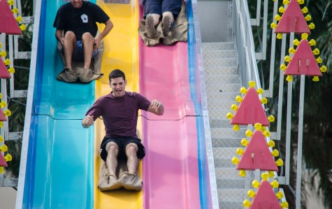 Students enjoyed the fun slide at the Israel Independence Day Carnival, which took place April 14 on the housing lawn.