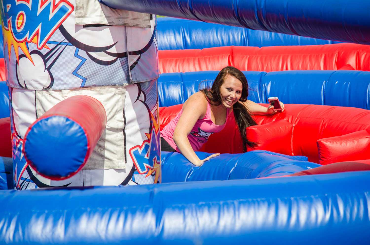 An FAU student enjoys the moving obstacle course at the Israel Independence Day Carnival, hosted by multiple groups including Owls for Israel, Hillel, ZOA, ICC, Camera, Hasbara, Stand With Us, and Student Government's Multicultural  Programing.