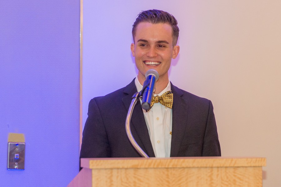 Evan Camejo gives a speech at Pi Kappa Phi's chartering event on Saturday night at Lakeside Terrace in Boca Raton, FL. Max Jackson | Photo Editor