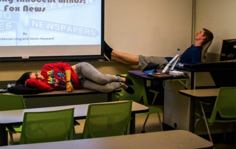 After finishing their final English project, two students sleep in a Culture and Society classroom. Alexis Hayward | Web Assistant