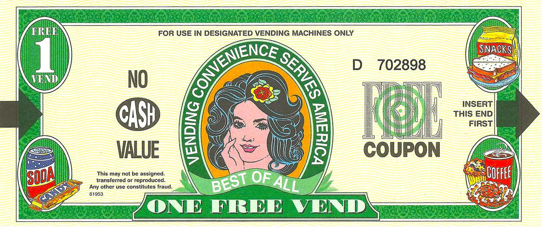 Vending machine coupon. Courtesy of FAU.