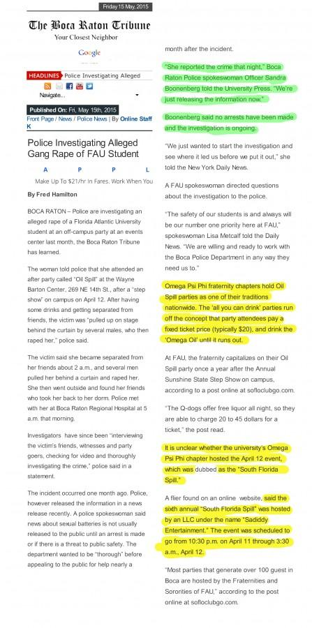 PDF of Fred Hamilton's story. Yellow portions were taken directly from Emily Bloch's University Press story without attribution.