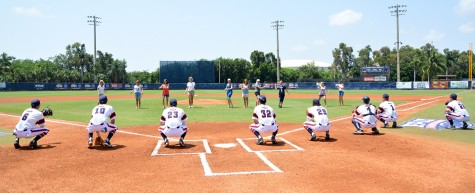 On Mother's Day, the Moms of several FAU players threw out the first pitch. Photo by Michelle Friswell
