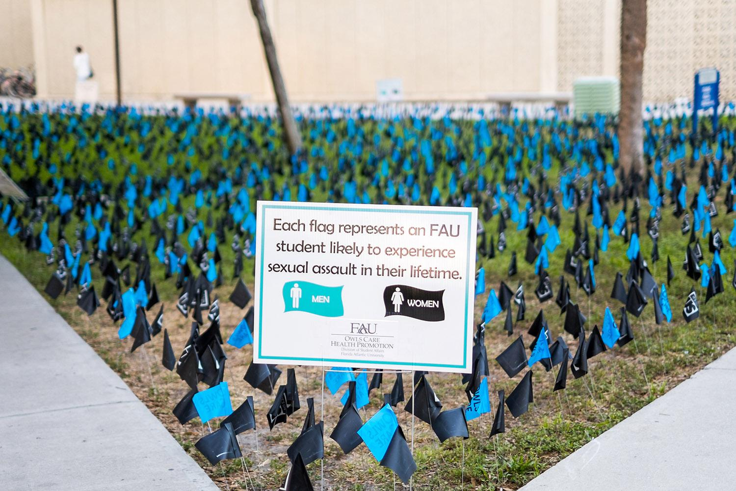 During the month of April, Owls Care Health promotion placed flags outside of the Breezeway with statistics about sexual assault. Mohammed F Emran | Staff Photographer