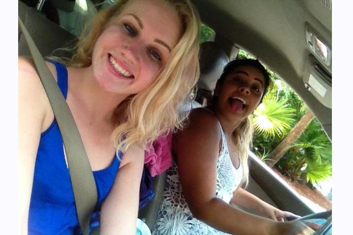 Haley Carpiniello (left) and Natasha Noguera on their trip from Coral Springs to Lauderdale-by-the-sea on Friday, July 24th. Photo courtesy of Haley Carpinello
