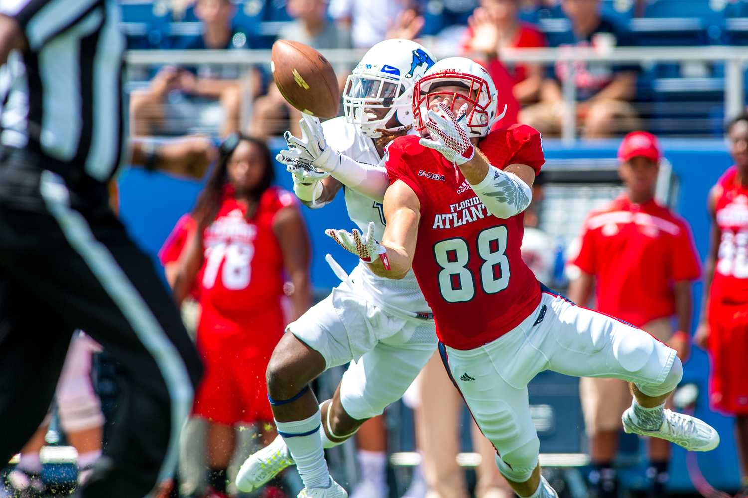 Senior wide receiver Jenson Stoshak (88) reaches to beat a Buffalo defender during Saturday's 33-15 loss. The play resulted in a gain of 44 yards for the Owls. Max Jackson   Staff Photographer