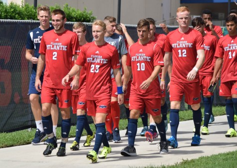 FAU men's soccer comes out of the Oxley Center after an hour and a half lighting delay before their game versus Fairfield University on Sept. 6. Ryan Lynch |  Sports Editor