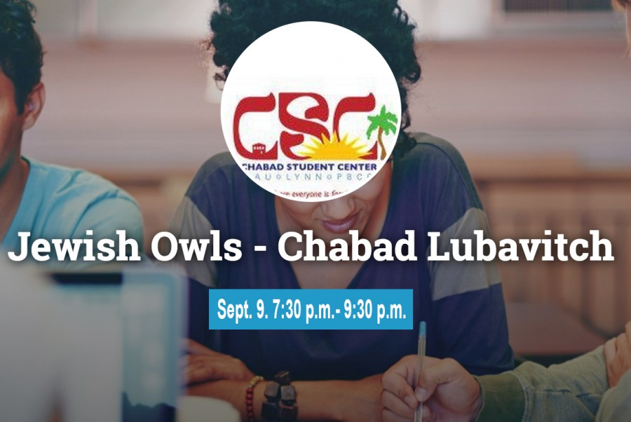 Screenshot of Jewish Owls-Chabad Lubavitch's Owl Central page. Event to be held on Sept. 9 5:30 p.m.-7:30 p.m.at the on the Boca Raton Campus housing lawn, featuring Kosher BBQ and Chassidic rapper Nosson Zand