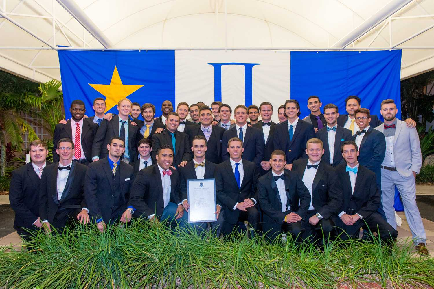 The founding members of Pi Kappa Phi's Kappa Delta  chapter at their chartering event in April. Photo by Max Jackson.