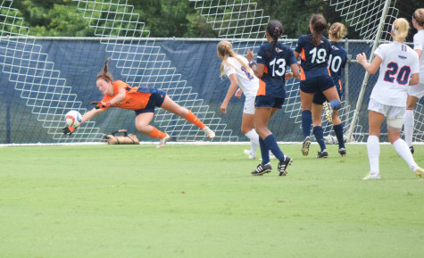 UTSA goalkeeper Katherine Tesno makes a save during Sunday's game at FAU. Tesno had 11 stops and earned the shutout in the winning effort. Ryan Lynch|Sports Editor