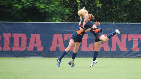 Roadrunner forwards Lauren Hodgdon and Sam Batley celebrate after Hodgdon scored in the 36th minute of Sunday's game. UTSA went on to win 1-0 for their first victory of the year. Ryan Lynch|Sports Editor