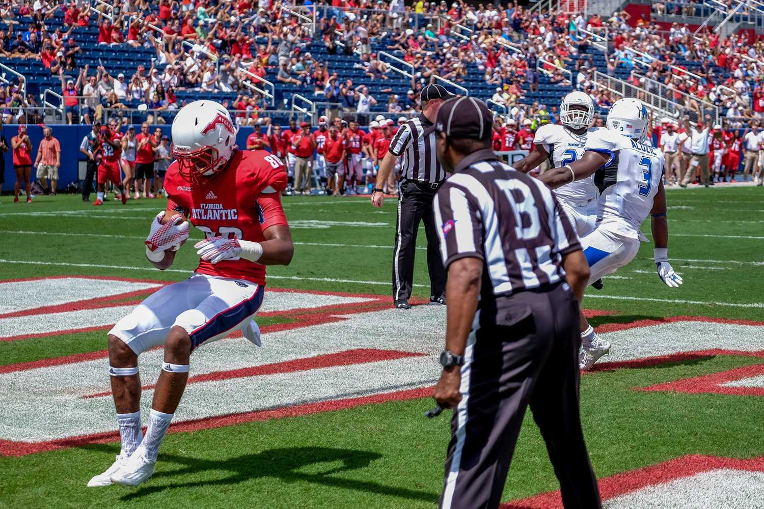Sophomore tight end Nate Terry catches the ball in the endzone making the score 9-0 in favor of the Owls. Mohammed F Emran   Staff Photographer