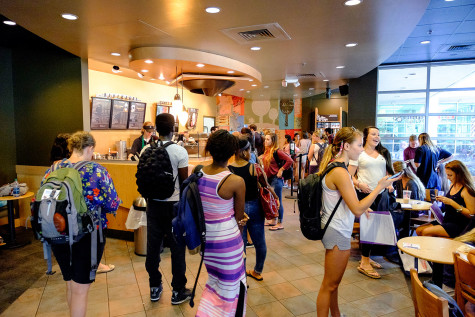 Students waiting 10 to 20 minutes in line at Starbucks. Photo by Mohammed F. Emran