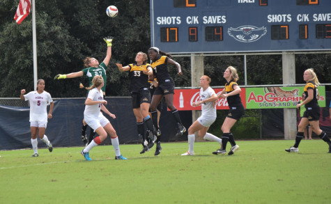 Redshirt Junior Sydney Drinkwater makes a save during Sunday's 3-0 win versus Southern Mississippi. Drinkwater earned her sixth shutout of the season in the winning effort. Ryan Lynch| Sports Editor