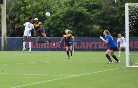 Junior forward Geovana Alves scores FAU's third goal of the game on a header during Sunday's game versus Southern Miss. The goal was her team leading seventh of the season. Photo by Ryan Lynch|Sports Editor