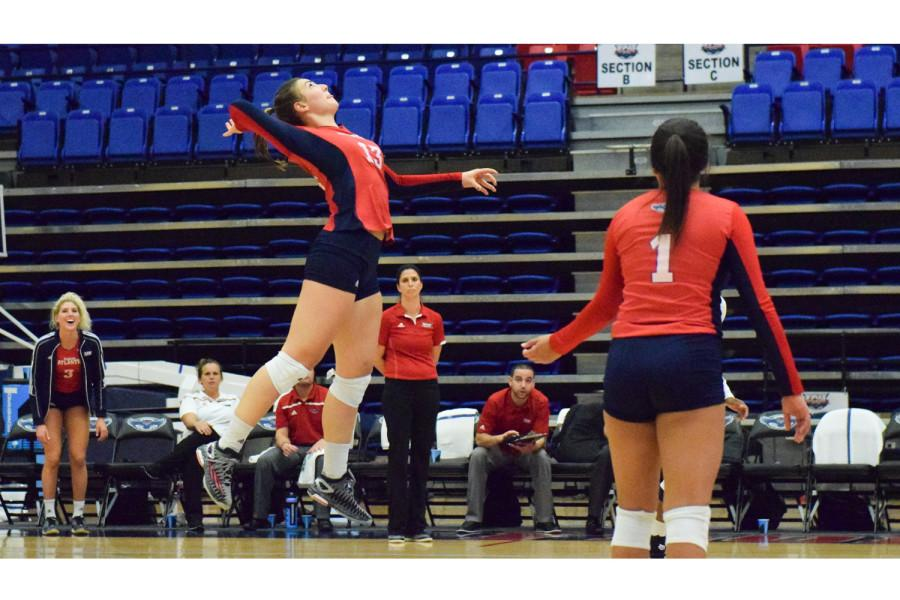 Maja Ristic prepares to spike the ball towards the UTEP side of the court during the Owls match Friday night. Ristic had 12 kills in the three game sweep, while also registering a double-double with 11 digs. Ryan Lynch | Sports Editor