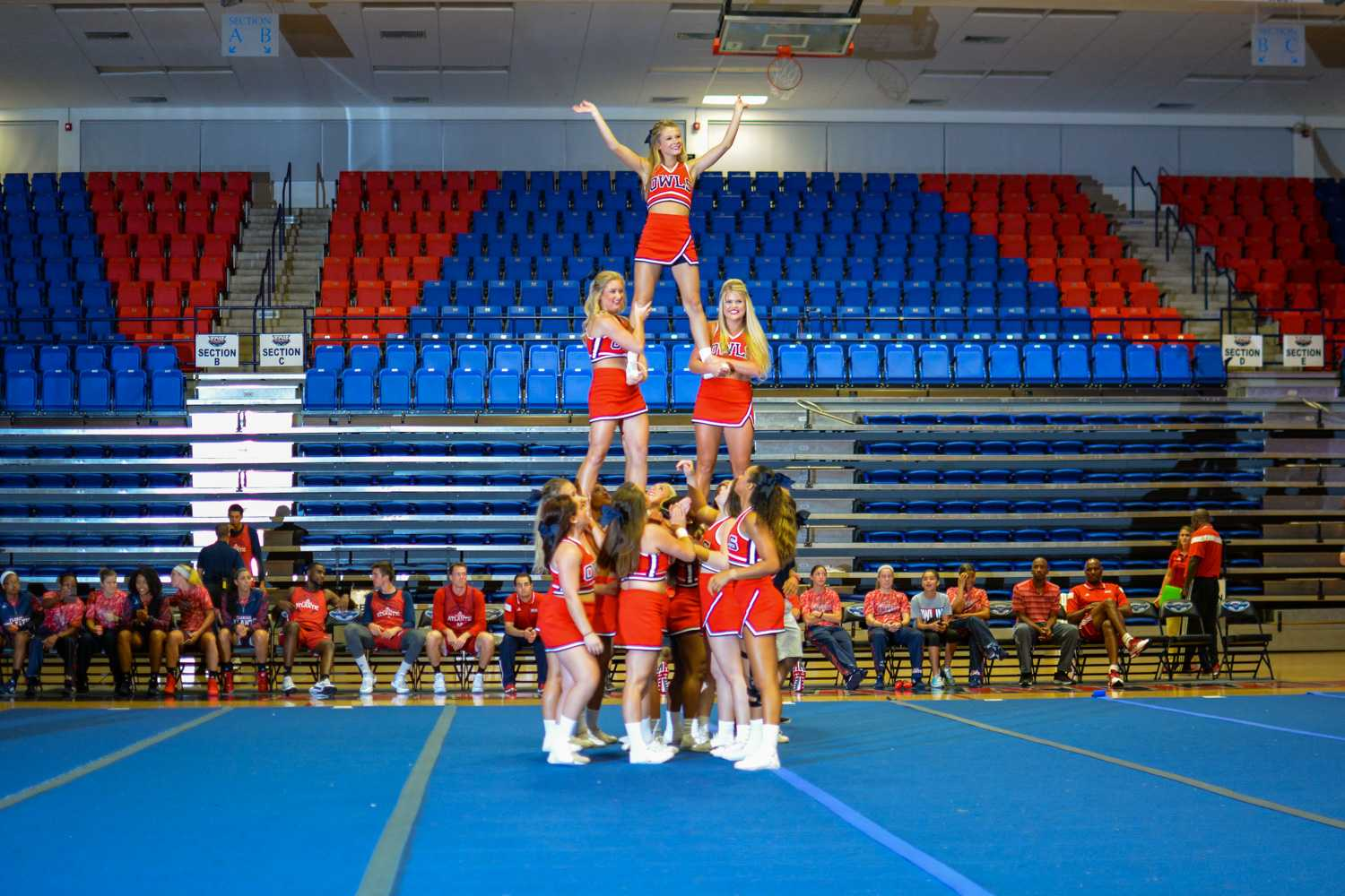 FAU Cheer performs a routine at the Red Hot Madness event on Tuesday, Oct. 28. Emily Creighton | Features Editor