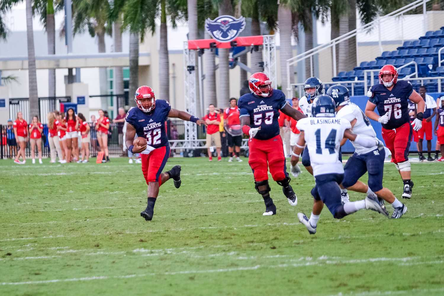 Redshirt senior quarterback Jaquez Johnson led the offense on a 75-yard drive during FAU's first possession of the game, finishing with an 11-yard pass to redshirt sophomore receiver Kalib Woods for a touchdown. The score tied the game at seven. Mohammed F Emran | Asst. Creative Director