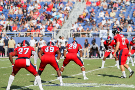 Junior kicker Greg Joseph prepares to take a kickoff during Saturday's game versus FIU. The Owls' win against the Golden Panthers was their first in the rivalry since 2013. Josh Talero Contributing Photographer
