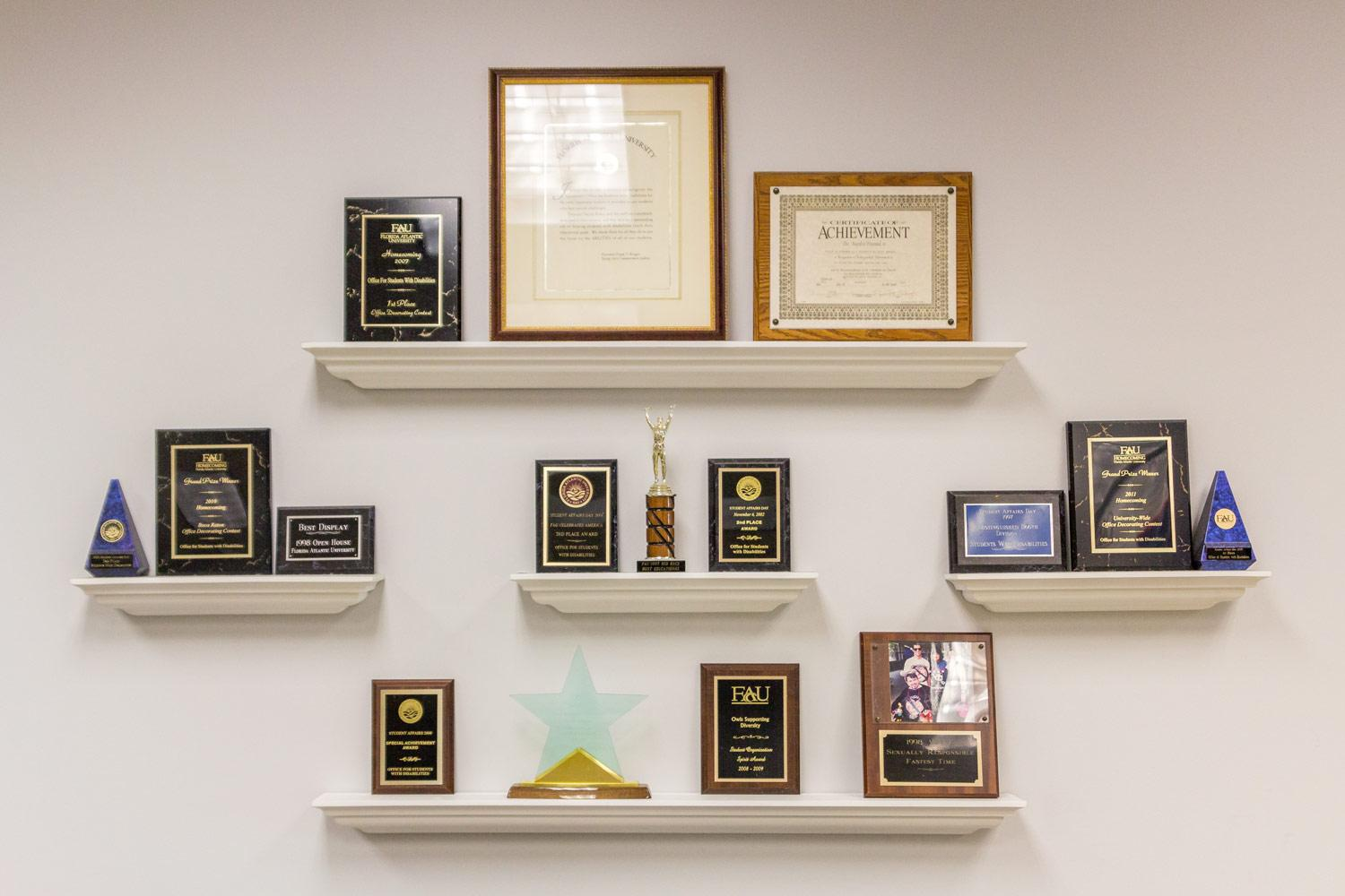 The Office for Students with Disabilities display awards they have won over the years. Andrew Fraieli | Science Editor