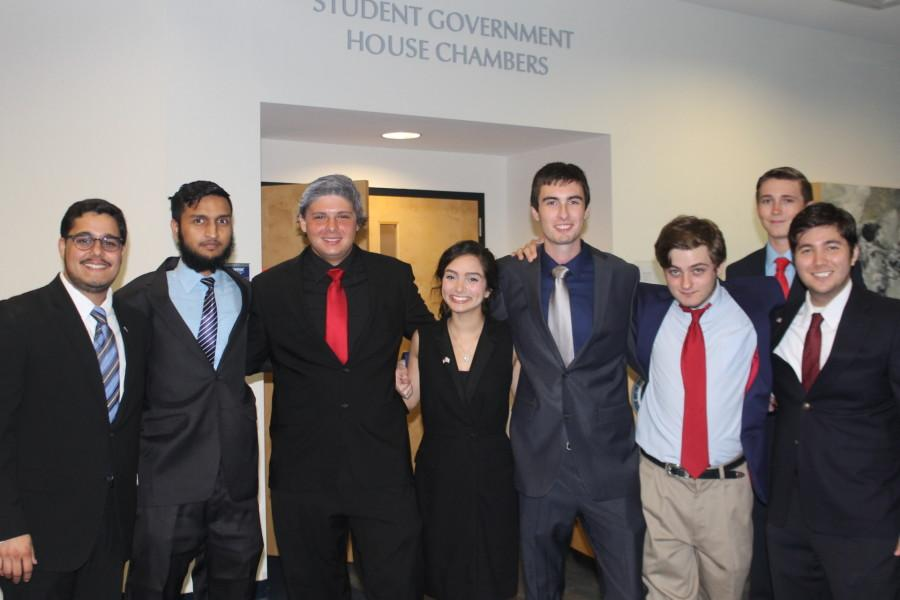Eight students represented presidential candidates in a mock debate on Oct. 26. Some went as far to mimic the look of their presidential counterpart. Photo courtesy Susan Bowra