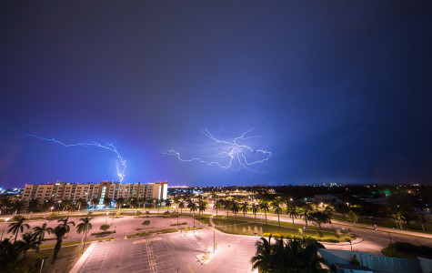 Lightning Strikes above Innovation Village Apartment. Photo Illustration by Max Jackson | Staff Photographer