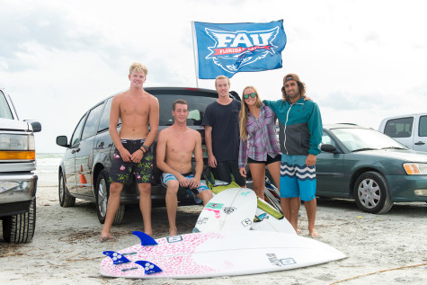 (L to R) Austin Chachko, Anthony Cox, Ian Henderson, Melanie Gannon, Chris Rubsaman relax after placing 5th overall at the 3rd National Scholastic Surfing Association contest of the year. Max Jackson | Staff Photographer