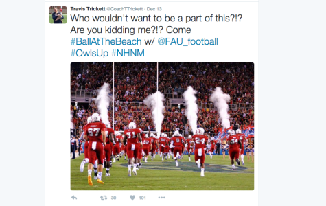 Screenshot of a Travis Trickett tweet promoting his new job at FAU. Do you know where he coached before he became the Owls' offensive coordinator?
