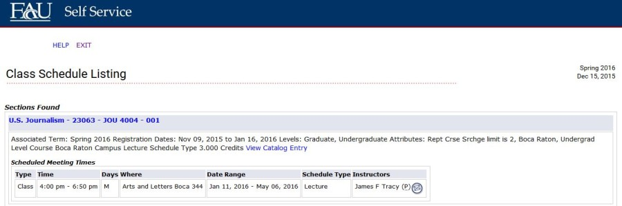 As of this week, James Tracy is listed to have one class for the Spring 2016 semester. Screenshot by Emily Bloch
