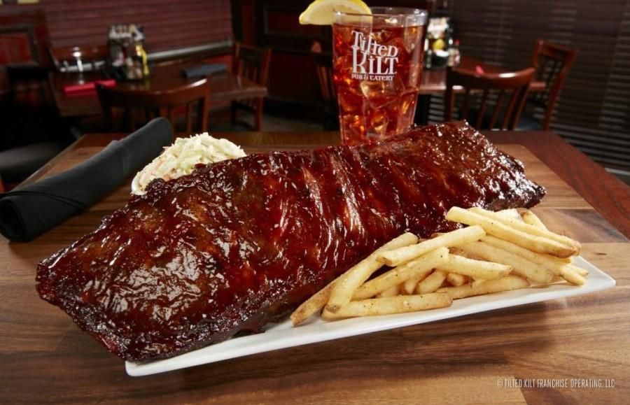 The+Big+Rack+is+pork+ribs+basted+in+Guinness+barbecue+sauce+and+is+one+of+many+entrees+available+at+the+Tilted+Kilt.+Photo+courtesy+of+Tilted+Kilt+Boca+Raton%E2%80%99s+Facebook+page.