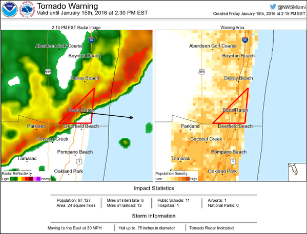 Image Courtesy of National Weather Services Tornado Warning (@NWStornado) Twitter page.