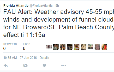 Snapshot of first alert from FAU's official Twitter page.