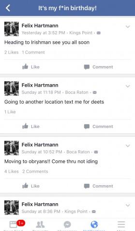 Screenshot of Felix Hartmann's Facebook page taken on Tuesday Jan. 12