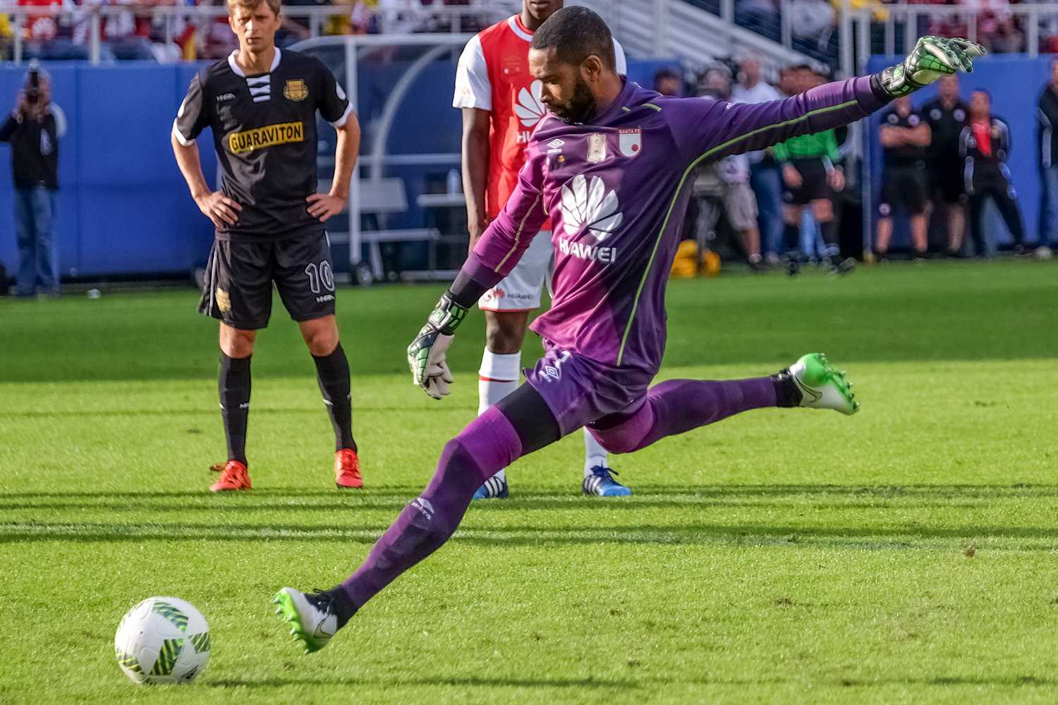 Independiente Santa Fe goalkeeper Robinson Zapata takes a penalty kick attempt in the fourth minute f his team's game against the Fort Lauderdale Strikers.  Zapata would score the attempt and put his team up 1-0Mohammed F. Emran | Staff Photographer