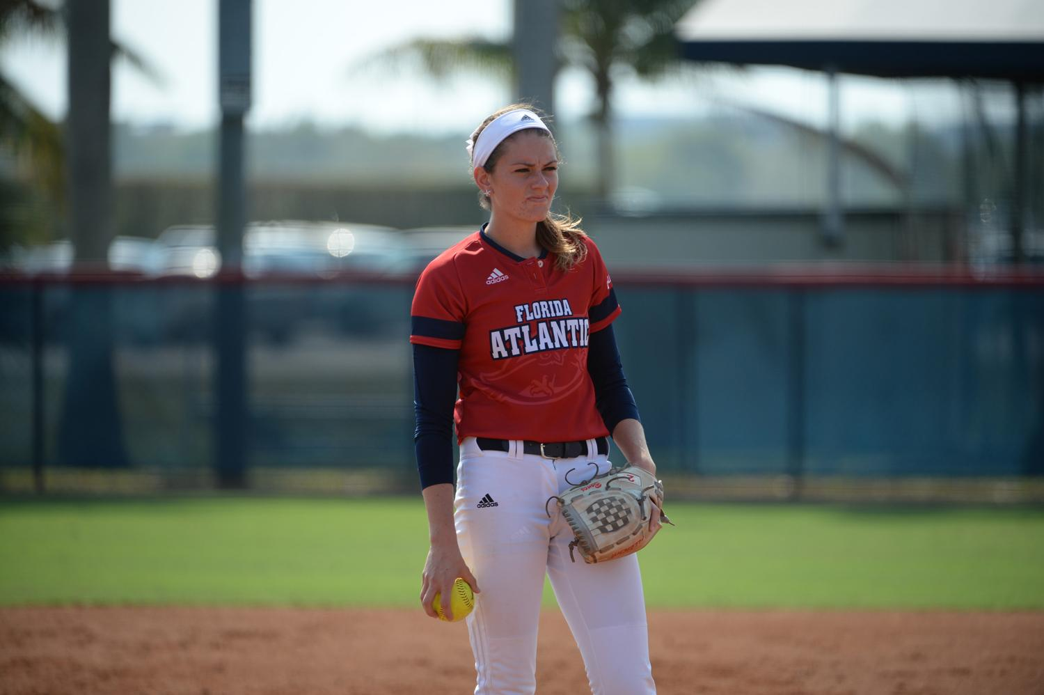 Kylee Hanson stares down the plate before delivering a pitch last season. Photo courtesy of FAU Athletics