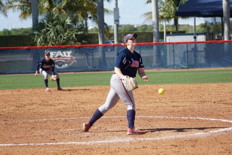 Pitcher Amanda Wilson (right) follows through on a pitch during a game last year. Photo courtesy of FAU Athletics