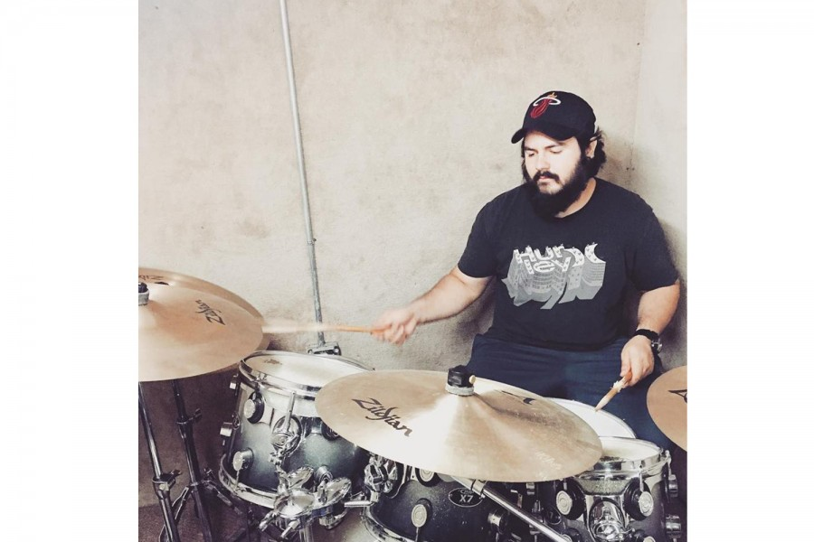 Stoic+City+drummer+Miguel+Cruz+practicing+for+Hootstock+2016.+Photo+courtesy+of+Stoic+City%27s+Facebook+page.