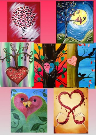 A few examples of the paintings you can paint on Valentine's Day. Photo Courtesy of Vino Van Gogh Facebook page.