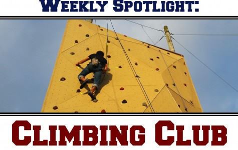 Club president Daniel Valladares climbing the 30-foot rock wall at the climbing course. Photo by Brittany Ferrendi | Features Editor