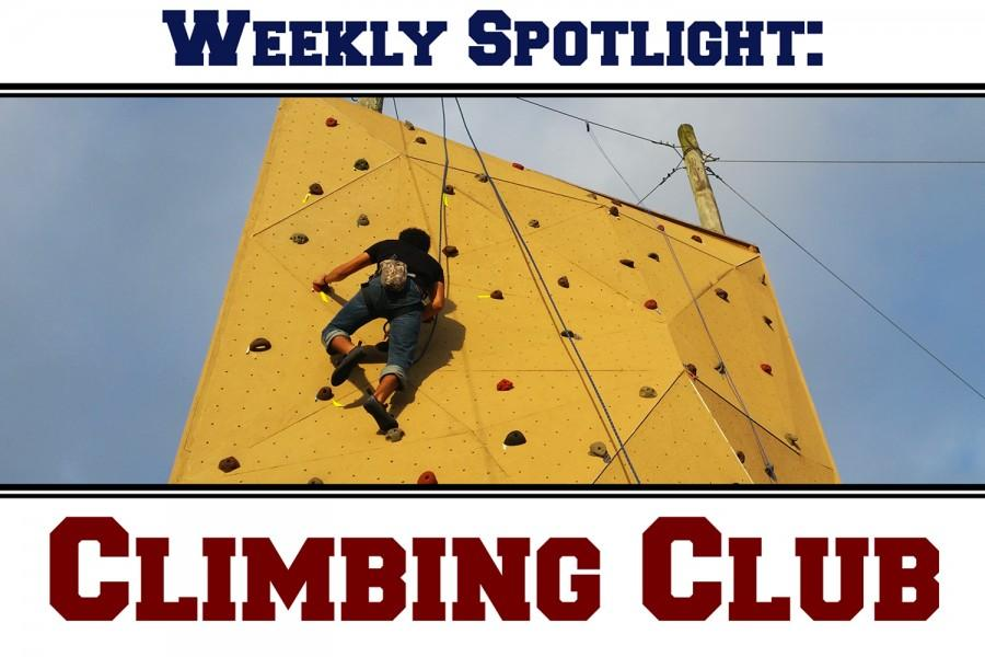 Club+president+Daniel+Valladares+climbing+the+30-foot+rock+wall+at+the+climbing+course.+Photo+by+Brittany+Ferrendi+%7C+Features+Editor
