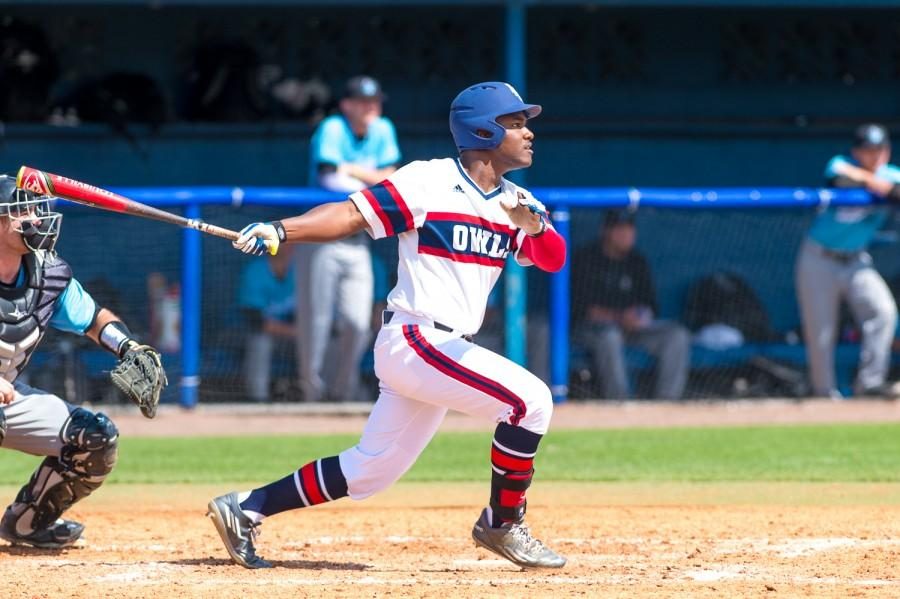 FAU+left+fielder+Christian+Dicks+follows+through+on+a+swing+during+Sunday%27s+game+between+the+Owls+and+LIU+Brooklyn.+Max+Jackson+%7C+Staff+Photographer