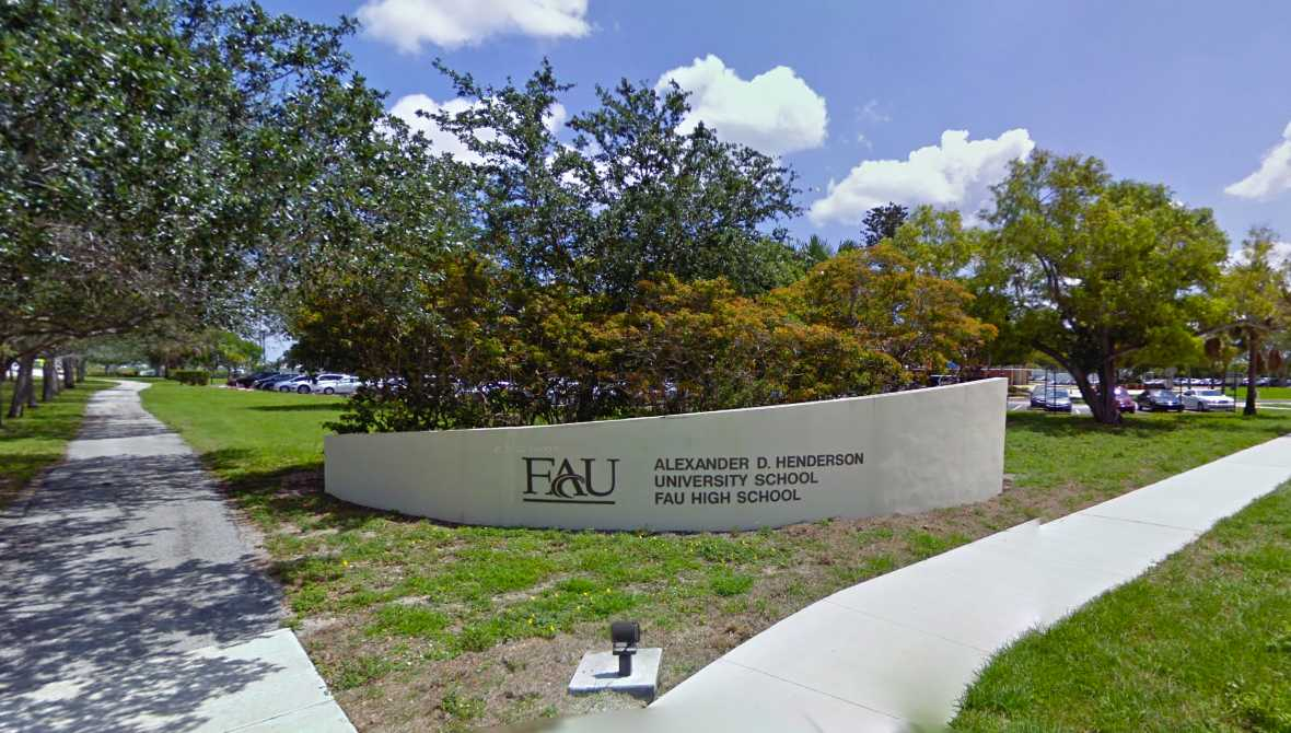 A.D. Henderson University School is an elementary middle school on the east side of the Florida  Atlantic University Boca Raton campus. Photo courtesy of Google.