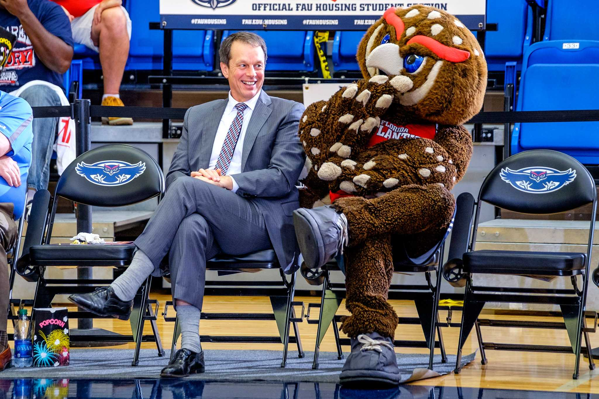 University President John Kelly and Owlsley watch the FAU men's basketball team play against Old Dominion  on Jan. 28. Mohammed F Emran | Staff Photographer