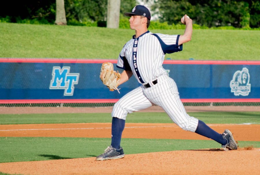 Freshman+pitcher+Nick+Swan+pitched+four+innings+during+his+start+against+FGCU+Tuesday+night.+Ryan+Lynch+%7C+Multimedia+Editor